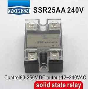 25AA SSR input 90-250V AC load 12-240V AC single phase AC solid state relay