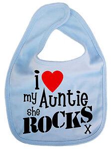 """Auntie Baby Bib """"I Love My Auntie She Rocks"""" Aunt Aunty Niece Nephew Gift"""