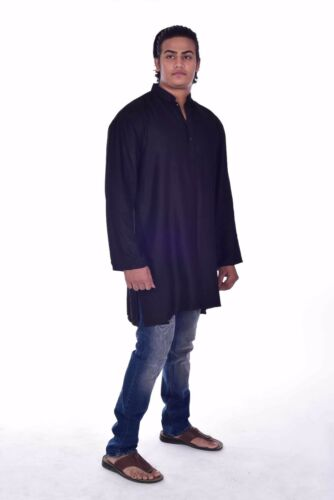 New Indian 100/% Cotton  Men's Shirt Kurta Shirt loose fit solid yellow