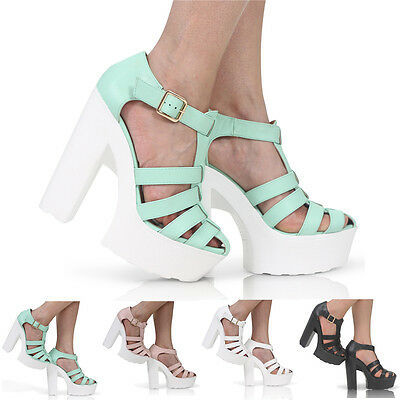NEW WOMENS LADIES GLADIATOR PLATFORM HIGH HEEL CHUNKY SANDALS SHOES