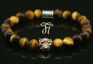 Tigerauge-braun-goldfarbener-Tigerkopf-Armband-Bracelet-Perlenarmband-8mm