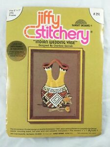 Indian-Wedding-Vase-Embroidery-Crewel-Kit-Jiffy-Stitchery-1976-NEW