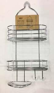 New 2Tier Shower Caddy Rack Chrome Organiser Bath  Hang Storage Shelves Bathroom