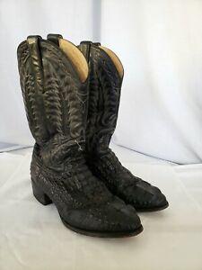 3809634021d Details about Vintage Dan Post black Alligator cowboy boots