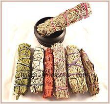 BLACK BURNER and 7 Sage Smudge Stick SAMPLER Blue, Red, White, Desert Dragons