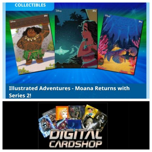 Topps Disney Collect Card Trader Moana Illustrated Adventures Series 2 Set of 7