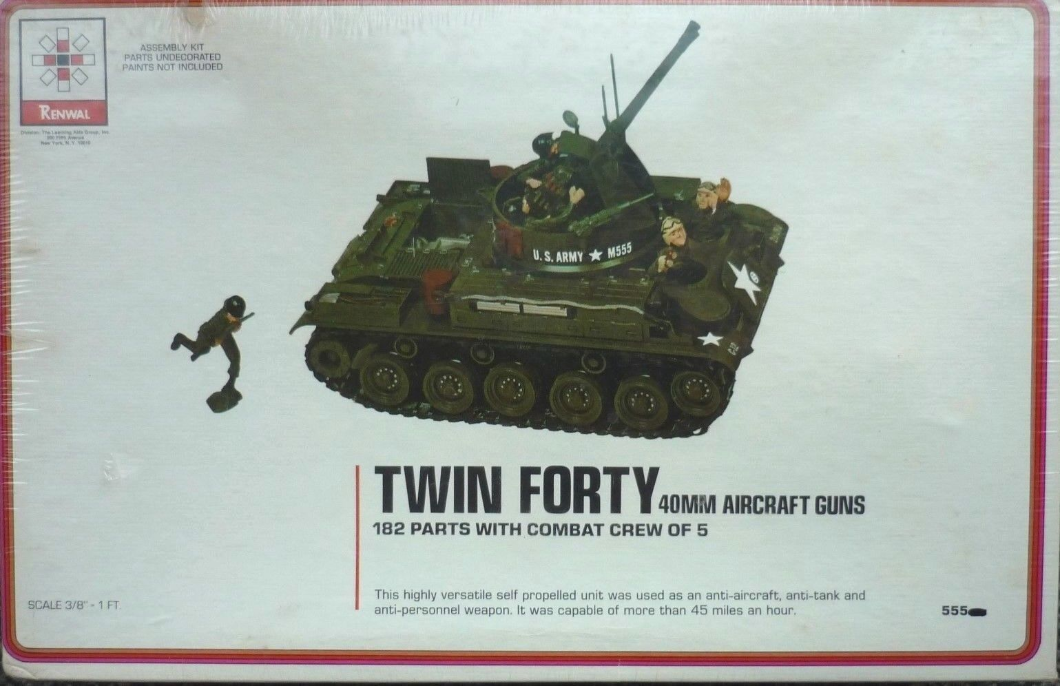 VINTAGE RENWAL TWIN FORTY ANTI - AIRCRAFT TANK - SCALE 3 8  to 12  No 555