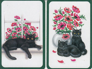 Genuine-Swap-Playing-Card-2-SINGLE-BLACK-CAT-AND-KITTENS
