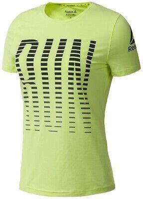 Ladies Womens Yellow New Reebok Running T-Shirt Top Gym Training Fitness