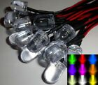 10mm Ultra Bright Pre-Wired Slow Colour Changing RGB LEDs Black/Chrome Holders