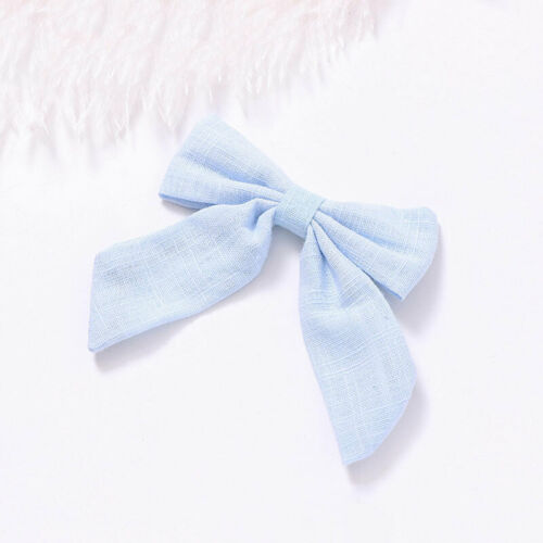 Cotton Linen Solid Women Long Tail Bow Hair Clip Alligator Clip Girls Barrettes
