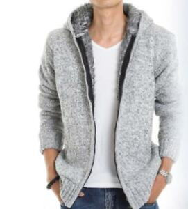 Mens-Lining-Fleece-Hooded-Cardigan-Slim-Fit-Knitted-Jacket-Winter-Warm-Coat-Tops