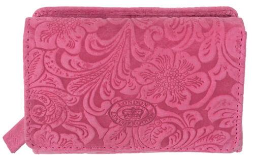 Ladies Embossed Leather Purse RFID Blocking with Vintage Floral Print
