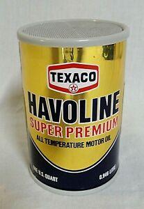 LOOK! 1970`S TEXACO HAVOLINE OIL CAN PROMO NOVELTY TRANSISTOR RADIO STILL WORKS!