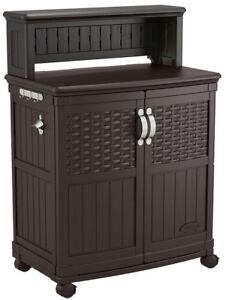 Brown Resin Patio Rolling Cabinet Outdoor Kitchen