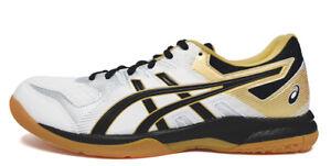 Asics Gel-Rocket 9 Hommes Badminton Chaussures Blanc Intérieur Chaussures Neuf avec étiquettes 1071A030-100