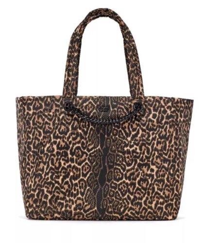 VICTORIA'S SECRET Zip Up TOTE WEEKENDER Bag LEOPARD Cheetah Chain Python NEW