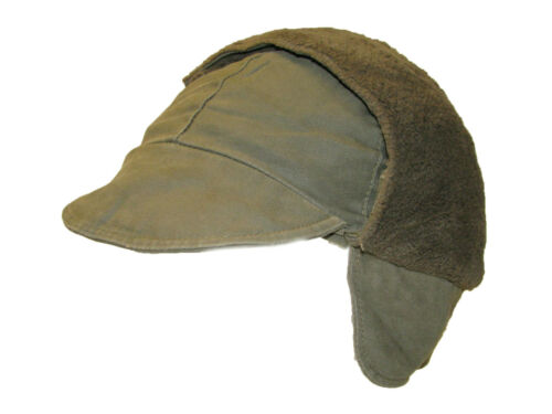 Genuine German Army Issued Olive Green Winter Pile Cap Hat Grade 1