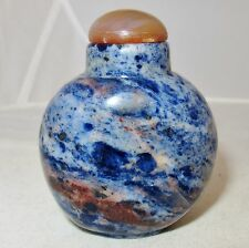 "Chinese Blue Lapis ? or Other Stone Snuff Bottle with Carnelian Agate  (2.35"")"