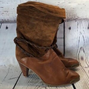 Zodiac-vintage-brown-leather-suede-slouchy-boots