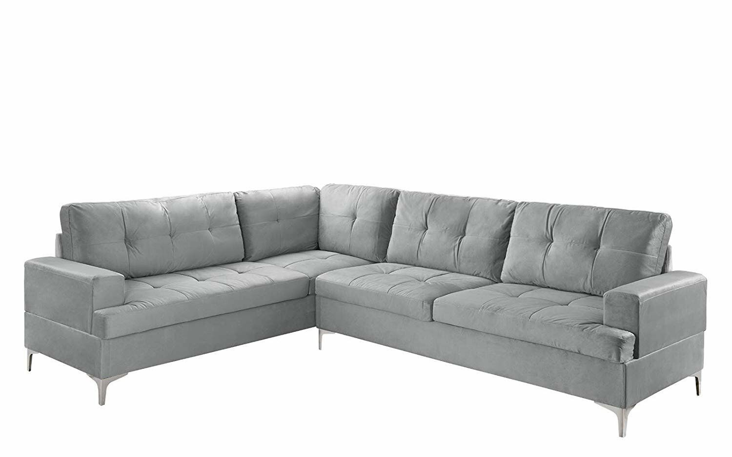 Large Tufted Velvet Sectional Sofa Modern Living Room L Shape Couch Grey