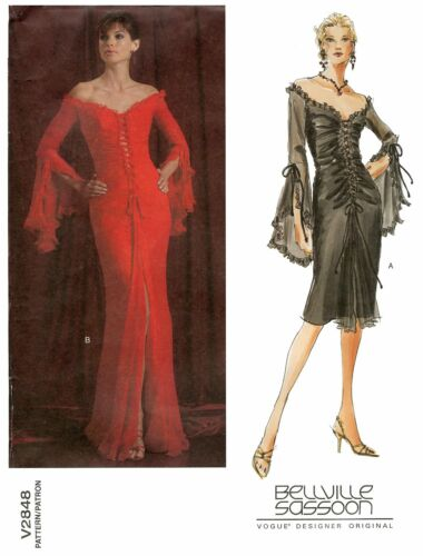 Vogue Bellville Sassoon Laced Front Evening /& Cocktail Dress Sewing Pattern 2848