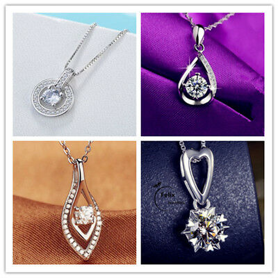 925 Sterling Silver Necklace Crystal Rhinestone Pendant Bridesmaid Jewelry New