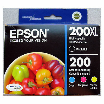 4-PACK Epson GENUINE 200XL Black & 200 Color Ink (RETAIL BOX) Expression  XP-400