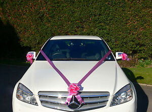 CERISE PINK Wedding Car Decoration Kit Large Bows & 7m Ribbon FAST ...