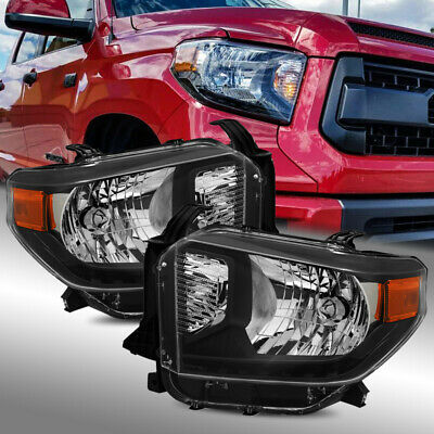 For 14-17 Toyota Tundra Black Crystal Headlights Left//Right Assembly Replacement