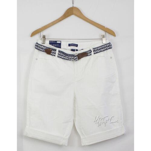 NWT Bandolino Riley Belted Bermuda Women Short Relaxed Fit White//Creamstone Sz 8