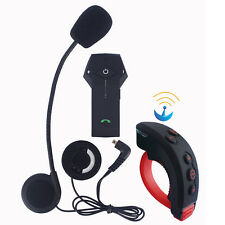 1000m BT Motorcycle Helmet Bluetooth Intercom Interphone Headset+ Remote Control