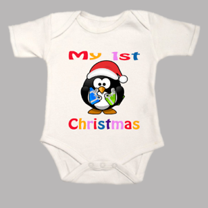 6a848164b My First 1st Christmas Baby Grow Penguin Body Suit Vest Xmas Santa ...