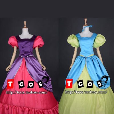 Cinderella Step Sisters Costume Anastasia Drizella Cosplay Dress Fancy Ball Gown