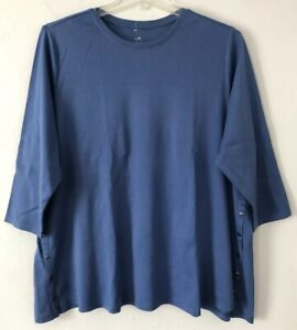 NEW-J-JILL-1X-3X-Side-Button-Tee-Shirt-Top-Perfect-Pima-Cotton-Blue