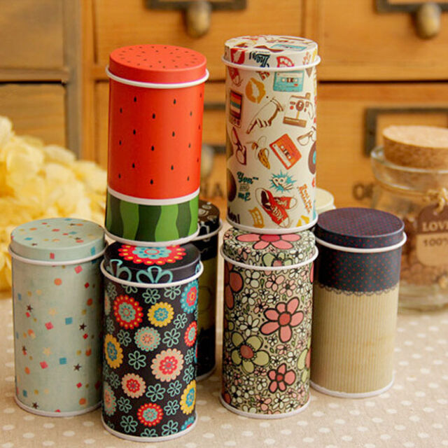 Mini Catoon Cylinder Small Iron Roll Memo Note Paper Tea Storage Box Tin Case
