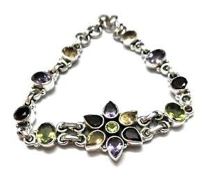 Multi-Gemstone-Natural-Handmade-925-Sterling-Silver-Bracelet-7-8-034