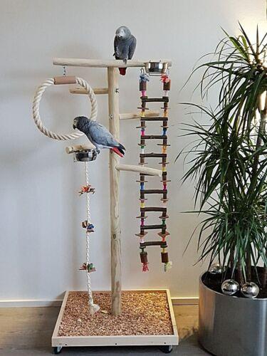 FREISITZ-aus-HOLZ-Papageienfreisitz-mit-HANGEBRUCKE-1-40-Papageienspielzeug-NEU