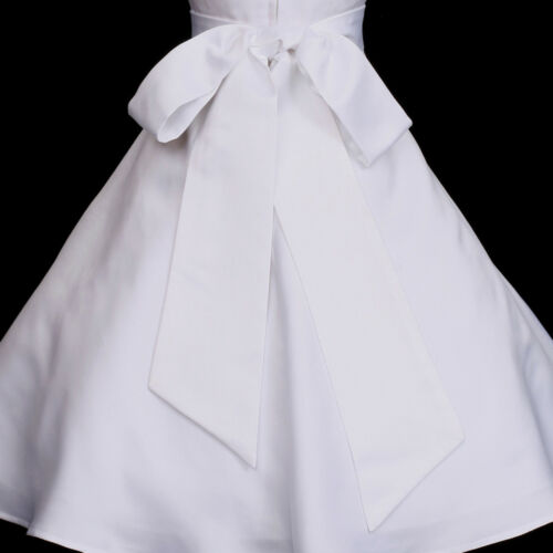 New White Ivory Wedding Flower Girl Bridesmaid/'s Matte Satin Dress Sash Self-Tie