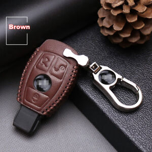 For-Benz-3-buttons-Genuine-leather-car-key-case-holder-cover-remote-fob-Brown