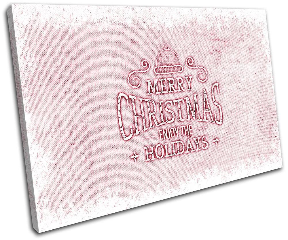 Christmas Decoration Wall Canvas ART Print XMAS XMAS Print Picture Gift Hessian 05 Pink Chr 44fe52