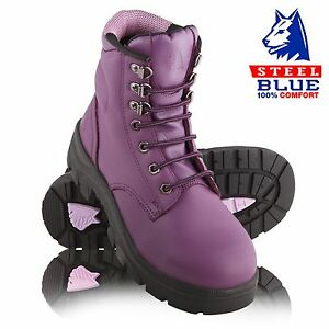 768a37d24e8 Details about Steel Blue PURPLE Ladies Safety Boot as seen on THE BLOCK  Womens Boots