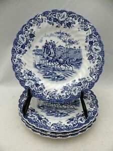 Johnson-Brothers-Blue-Coaching-Scenes-set-of-4-Bread-amp-Butter-plates-New