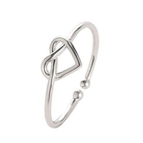 Gold Silber Schwarz Ring Mädchen Knoten Herz Verstellbarer offener Finger