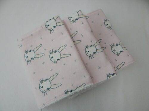 Burp Cloths Bunnies on Pink 3 Pack Toweling Backed GREAT GIFT IDEA!!