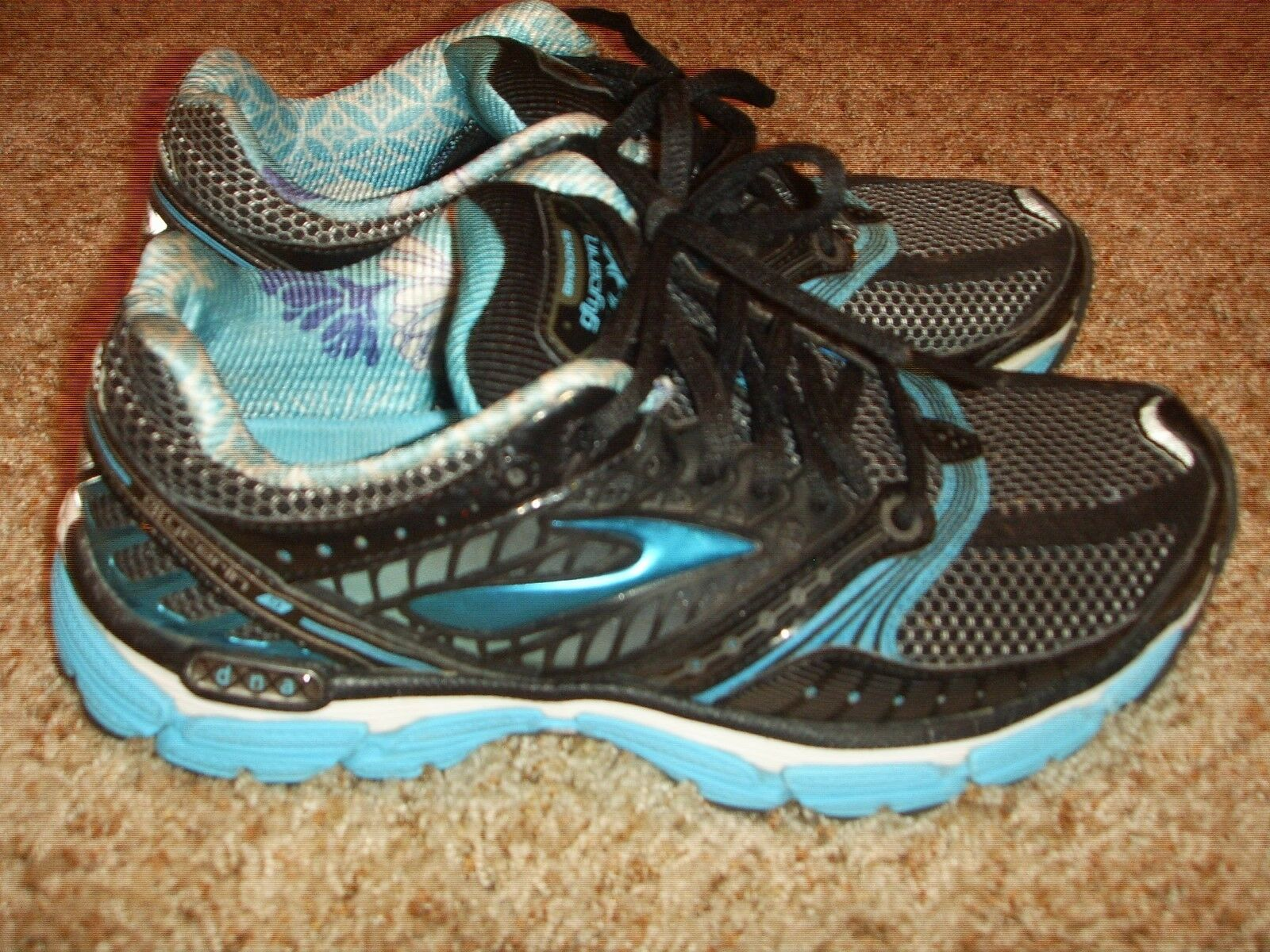 BROOKS Glycerin 9 Running Shoes Black Blue Womens Size 8.5M