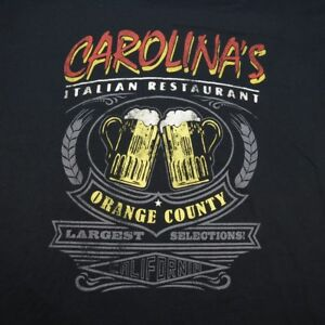 CAROLINA'S ITALIAN RESTAURANT ORANGE COUNTY BEER DIVE BAR TEE T SHIRT Sz L