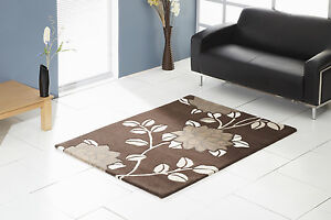 Floral Art Natural Achillea Chocolate Brown Wool Rug in various sizes