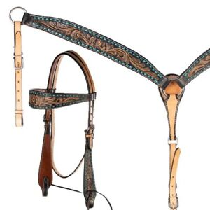 Western Natural Leather Bling Tack Set of Headstall /& breast Collar//Buckstitched