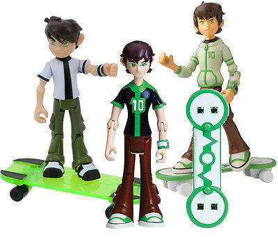LOT OF 3PCS Ben 10 Omniverse Action Figure With Skateboard Bandai